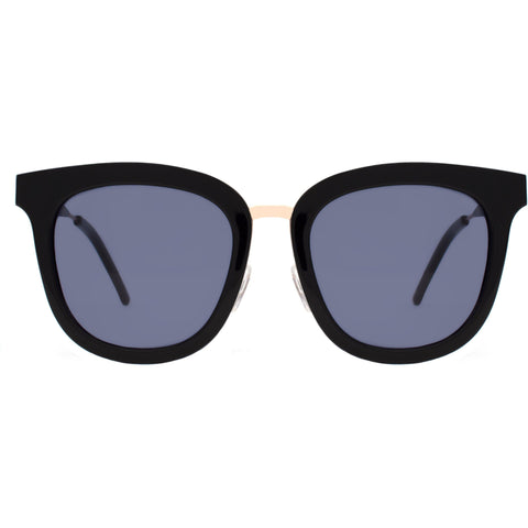 Over size black sunglasses with gold accents view 1