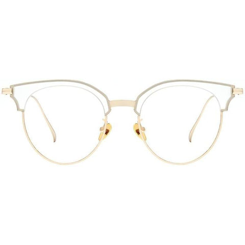 White frost translucent brow line eyeglasses with gold rims view 1