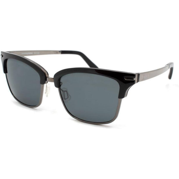 Black brow line square sunglasses with silver metal rims view 2