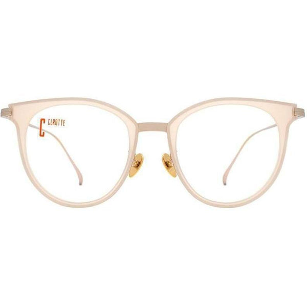 Large beige and round eyeglasses with gold rims view 1