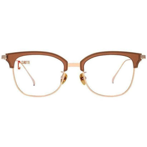Caramel color brow line eyeglasses with gold rims view 1