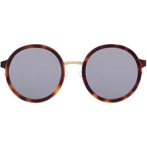 Over size tortoise circle sunglasses with gold rims view 1