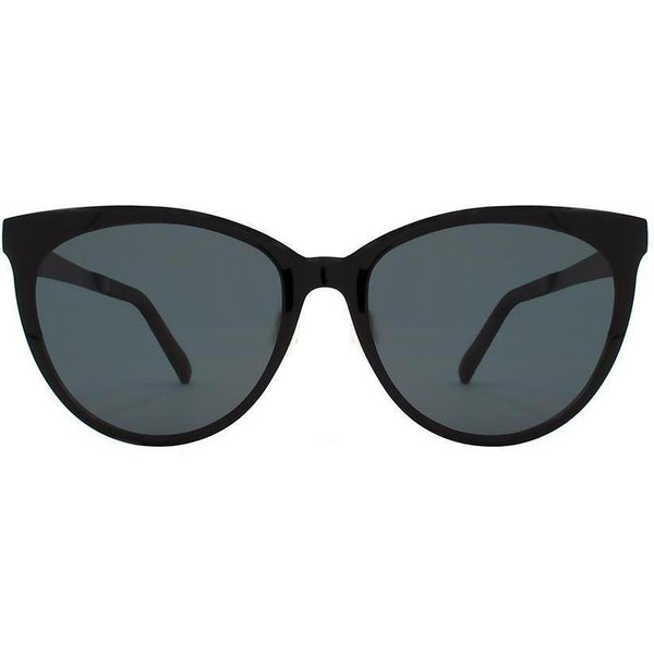 Black cat eye sunglasses with black lenses view 1