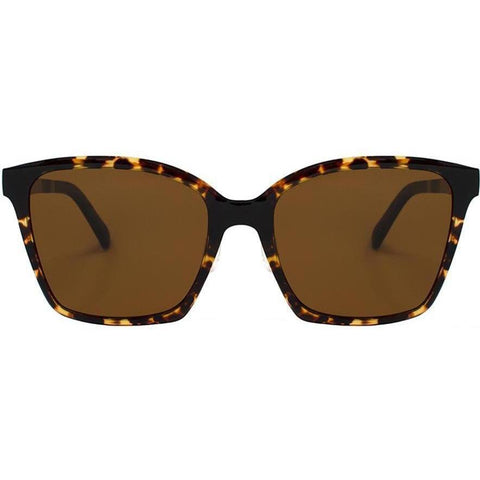 Large tortoise square sunglasses with brown lenses view 1