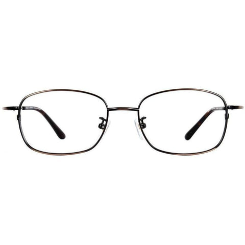 Metallic brown metal square eyeglasses view 1