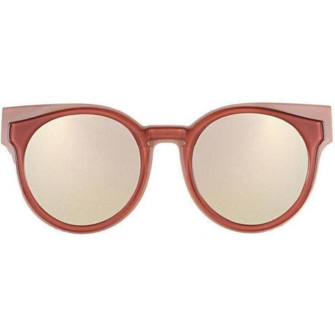 Two tone orange color round sunglasses with cat eye tips and mirror lenses view 1