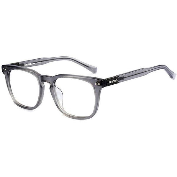 Translucent gray rectangular plastic eyeglasses view 2