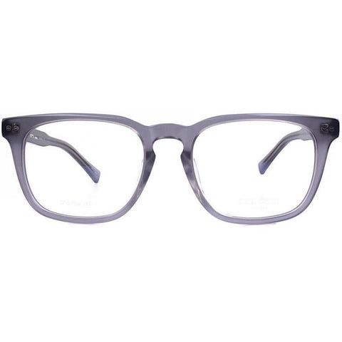 Translucent gray rectangular plastic eyeglasses view 1