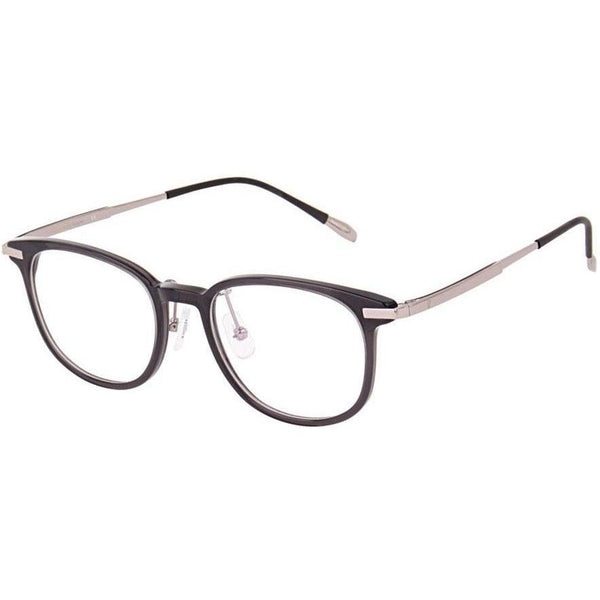 Gray plastic square eyeglasses with silver temples view 2