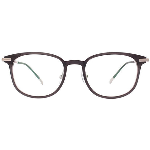 Gray plastic square eyeglasses with silver temples view 1
