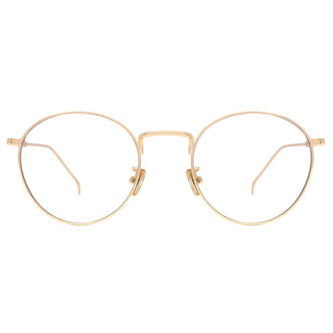 Thin, gold, and round circle eyeglasses view 1