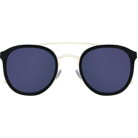 Black roundish sunglasses with gold rims view 1