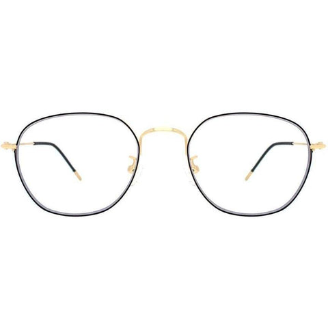 Black oval eyeglasses with gold rims and temples view 1