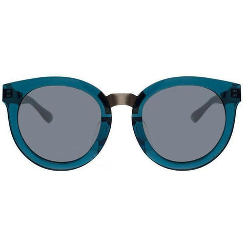Over size turquoise round sunglasses with metal rims view 1
