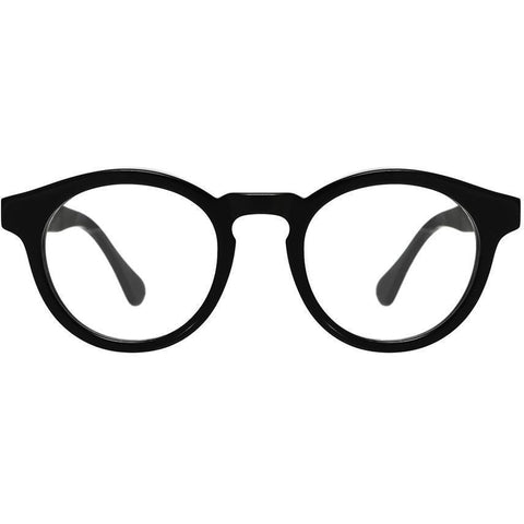 Thick, bold & black plastic round eyeglasses view 1