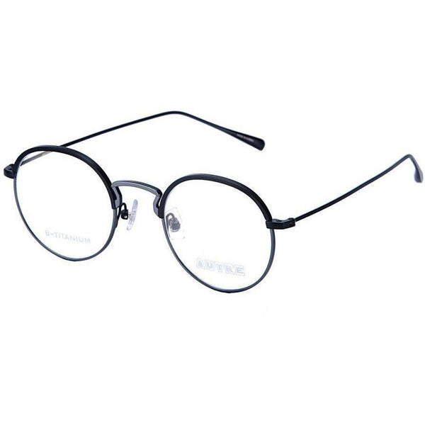 Dark blue round glasses with gray metal rims and te2ples view 1
