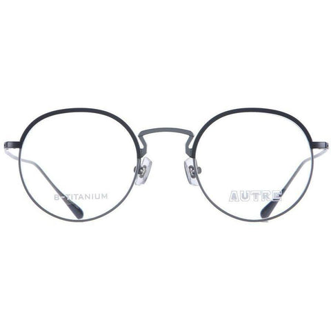 Dark blue round glasses with gray metal rims and temples view 1