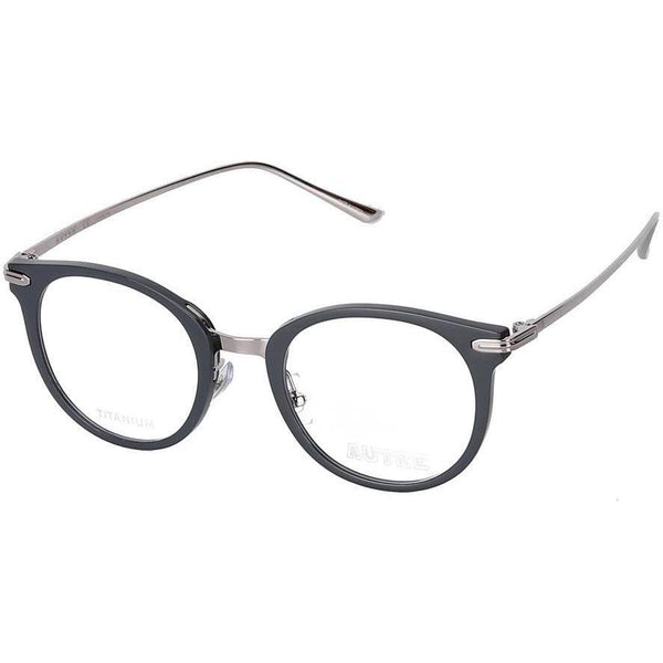 Dark blue rounded eyeglasses with silver rims and temples view 2