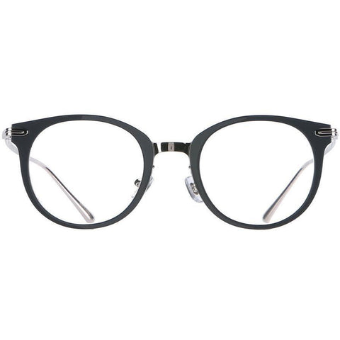 Dark blue rounded eyeglasses with silver rims and temples view 1