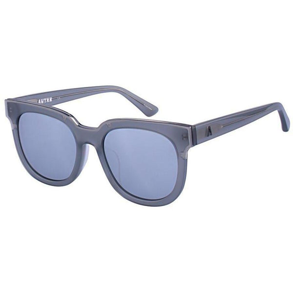 Large translucent gray sunglasses with bluish gray lenses view 2