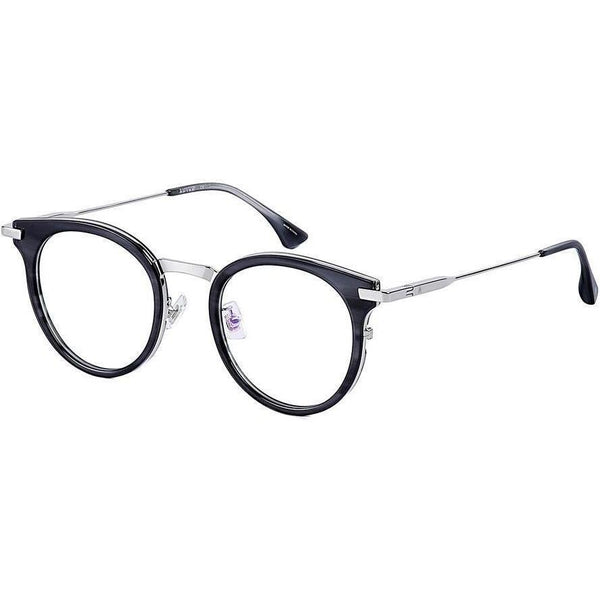 Black round glasses with silver metal accents and temples view 2