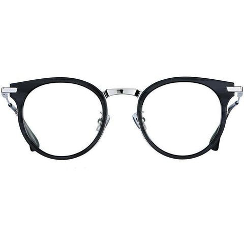 Black round glasses with silver metal accents and temples view 1