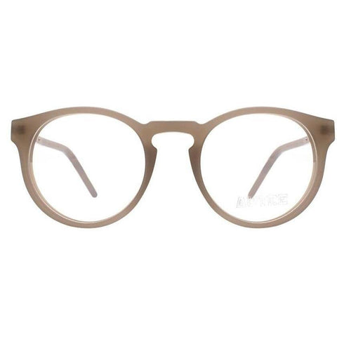 Matt light brown plastic eyeglasses with gold temples view 1