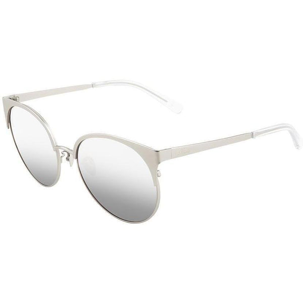 Silver round metal sunglasses with silver mirror lenses view 2