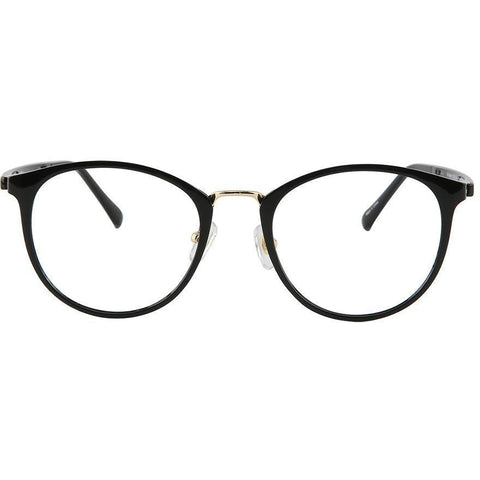 Black roundish eyeglasses with gold rims view 1