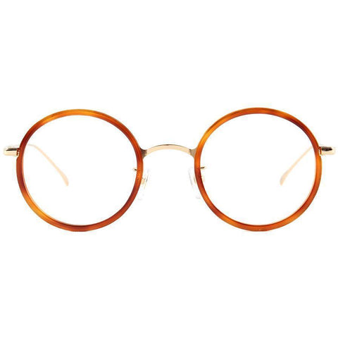 Tortoise round orange tortoise eyeglasses with gold rims and temples view 1