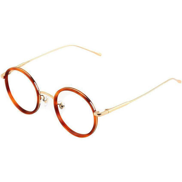 Tortoise round orange tortoise eyeglasses with gold rims and temples view 2