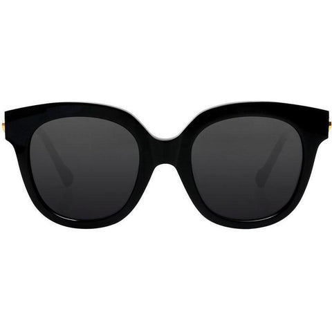 Over size bold black sunglasses with gold temples view 1