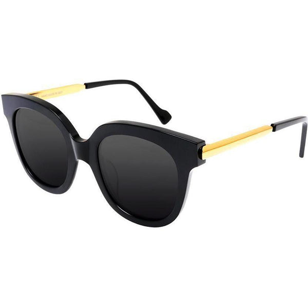 Over size bold black sunglasses with gold temples view 2