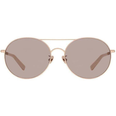 Pink round sunglasses with gold rims and beige temples view 1
