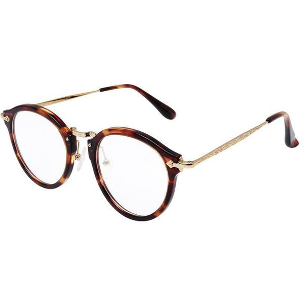 Roundish plastic tortoise frame with gold metal rims and temples view 2
