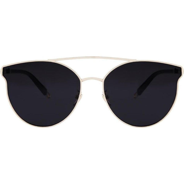Rimless black sunglasses with cat eye tips and gold rims view 1
