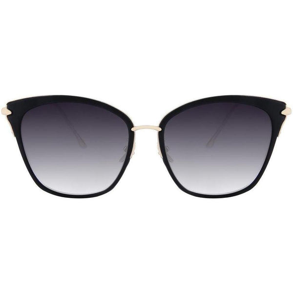 Black squre sunglasses with transition lenses and gold temples view 1