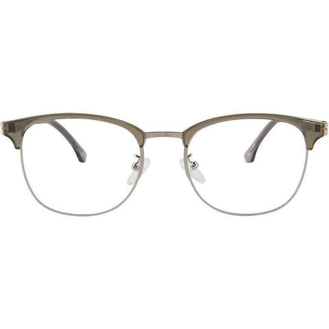 Khaki brow line squarish eyeglasses with metal temples view 1