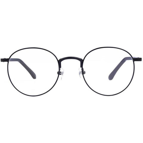 Black thin metal framed round glasses view 1
