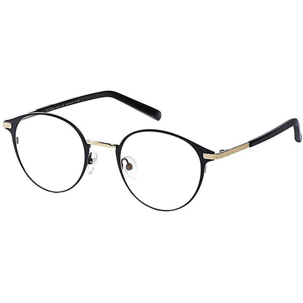 Black round eyeglasses with gold rims view 2