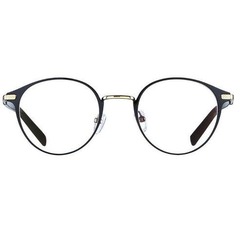 Black round eyeglasses with gold rims view 1