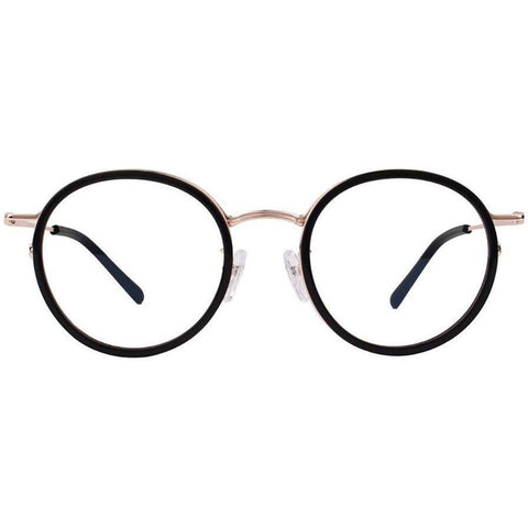 Black circle plastic glasses with gold rims and temples view 1