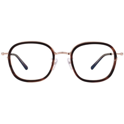 Tortoise square plastic eyeglasses with gold rims and temples view 1