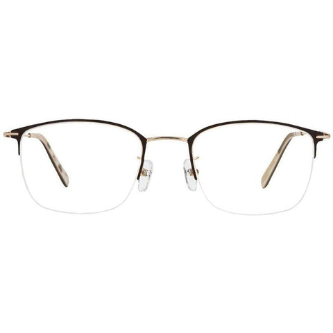 Brown half rim glasses with gold rims and temples view 1
