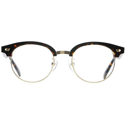 Round brow line tortoise glasses with gold rims view 1