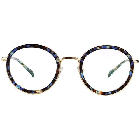 Colorful plastic circle glasses with gold rims view 1