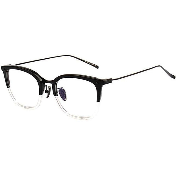 Top black bottom translucent square plastic framed glasses with black metal rims and temple view 1