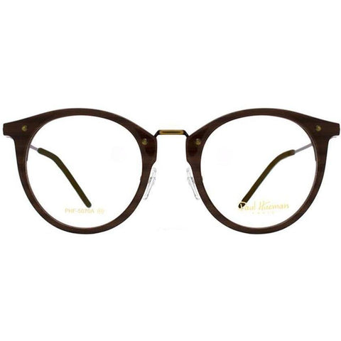 Dark brown round eyeglasses with brass metal rims and temples view 1
