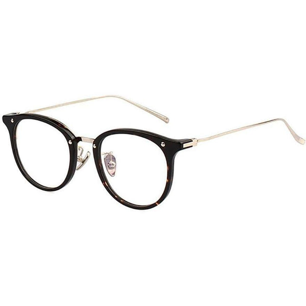 Plastic black round eyeglasses with silver rims and temples view 2