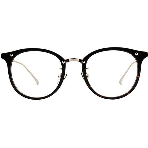 Plastic black round eyeglasses with silver rims and temples view 1